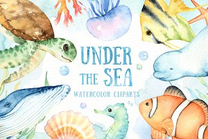 Under the Sea Watercolor Cliparts