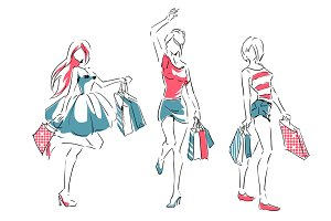 Sketch set. Girls after shopping.
