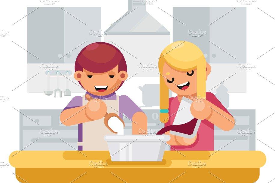 Cute Children Girl Boy Cook Cooking Illustrations Creative Market