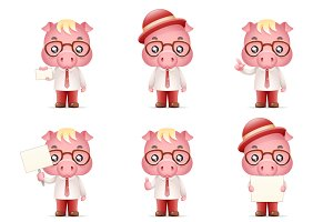 Cute Swine Pig Businessman Man 3d