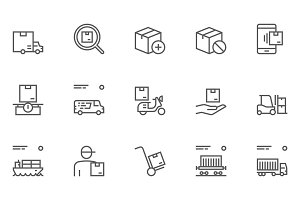 Logistics, Delivery Line Icons