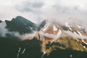 Sunset foggy Mountains peaks