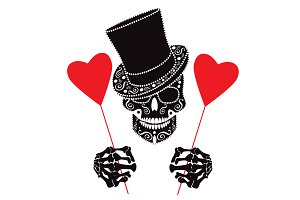 Valentines day with skull icon PNG