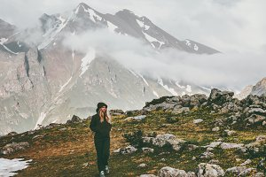 Mountains adventure Woman alone