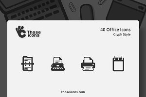 40 Office Glyph Icon