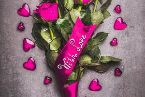 Pink roses bouquet with LOVE