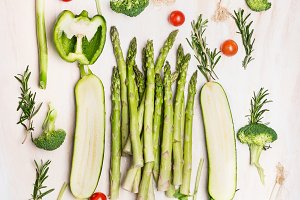 Various green vegetables flat lay