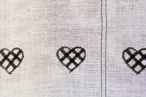 ornamental hearts on curtains