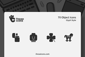 70 Objects Glyph Icon