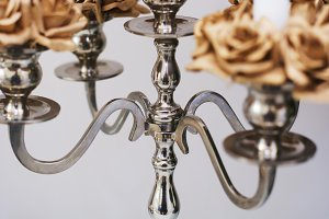 close up of a silver candelabrum