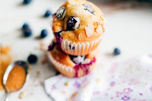 Freshly baked blueberry muffins