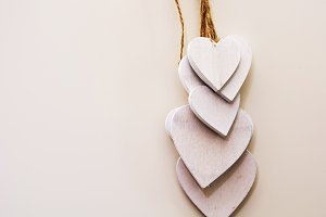 white wooden heart shaped