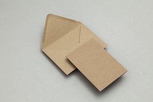 Brown kraft paper envelope and card