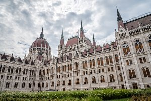 Outdoors view of Hungarian Parliament Building