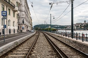 Railway tracks in riverbank of Danube river in Budapest.