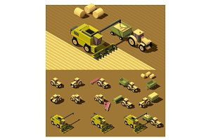 Vector isometric low poly agricultural machinery