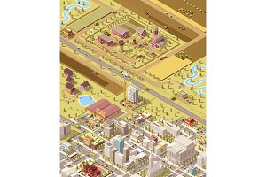 Vector isometric farm and city