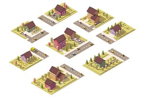 Vector isometric low poly suburban buildings