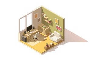 Vector isometric low poly room cutaway icon