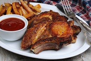 Roasted pork chop steak