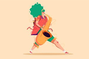 Jazz Girl walking with saxophone