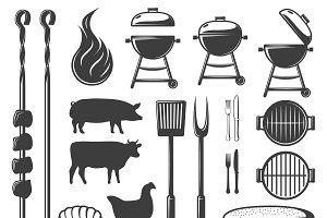 BBQ Decorative Icons Set