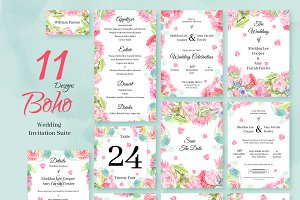 Boho. Wedding Invitation Package