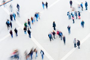 Motion blur of crowd people