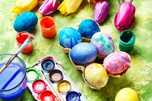 Easter Eggs, Paint and Tulips