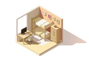 Vector isometric low poly children room icon