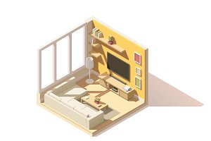 Vector isometric low poly living room icon