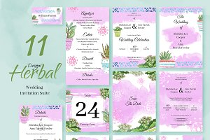 Herbal. Wedding Invitation Package