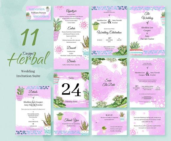 Herbal Wedding Invitation Package