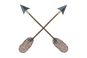 Crossed indian arrows.