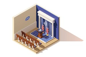 Vector isometric White House briefing room