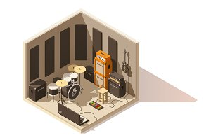 Vector isometric low poly recording studio icon