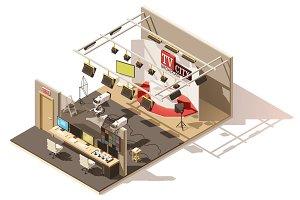 Vector isometric low poly television studio