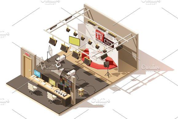 Vector isometric television studio