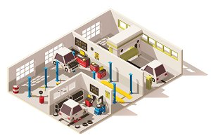 Vector isometric low poly car service center