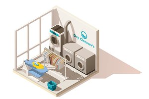 Vector isometric low poly commercial laundry icon