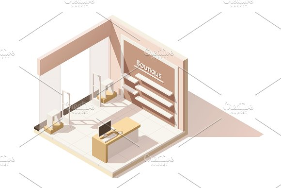 Vector isometric low poly boutique cutaway icon