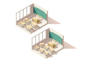 Vector isometric low poly school classroom