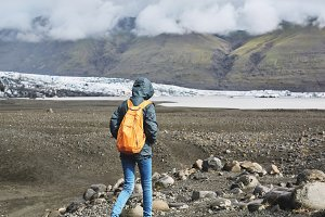 tourist going to Glacial lagoon in Iceland