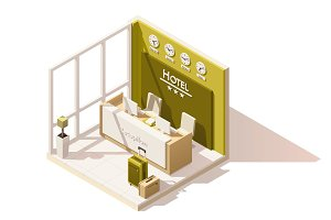 Vector isometric low poly hotel reception icon