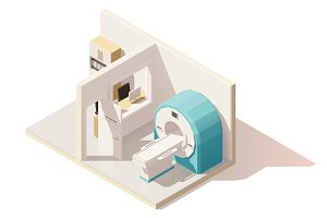 Vector isometric low poly MRI room icon