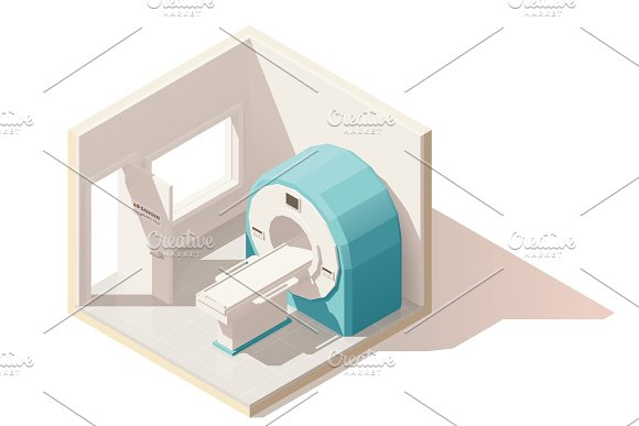 Vector isometric low poly MRI room icon in Objects
