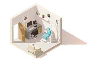 Vector isometric low poly ophthalmologist office