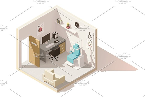 Vector isometric low poly ophthalmologist office in Objects