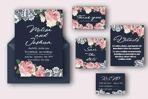 Lace and flowers invitation set