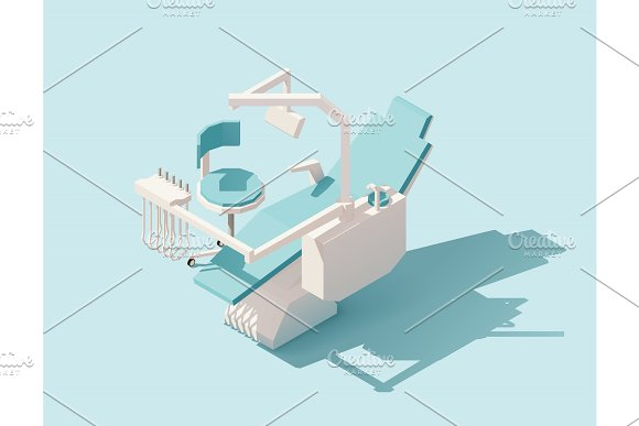 Vector isometric low poly dental chair